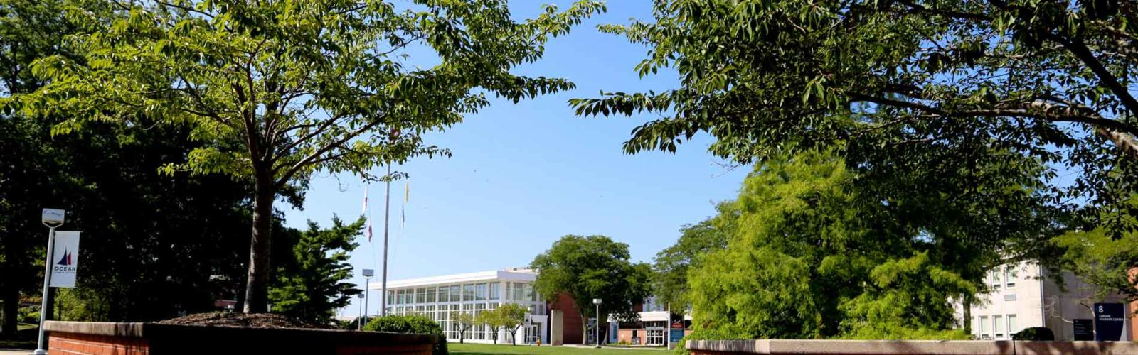 pathway on ocean county college campus with trees