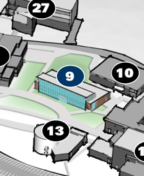 Building 9 shown on the campus map in front of building 10 and across from building 13